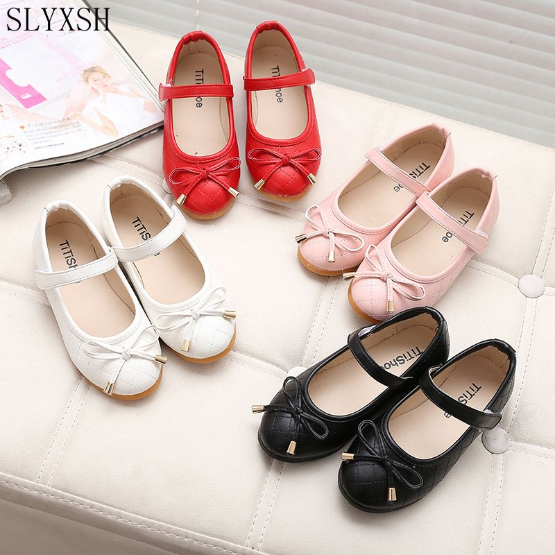 SLYXSH party girls shoes new fashion 2017 baby children kids girl princess leather red shoe spring autumn size 21~35
