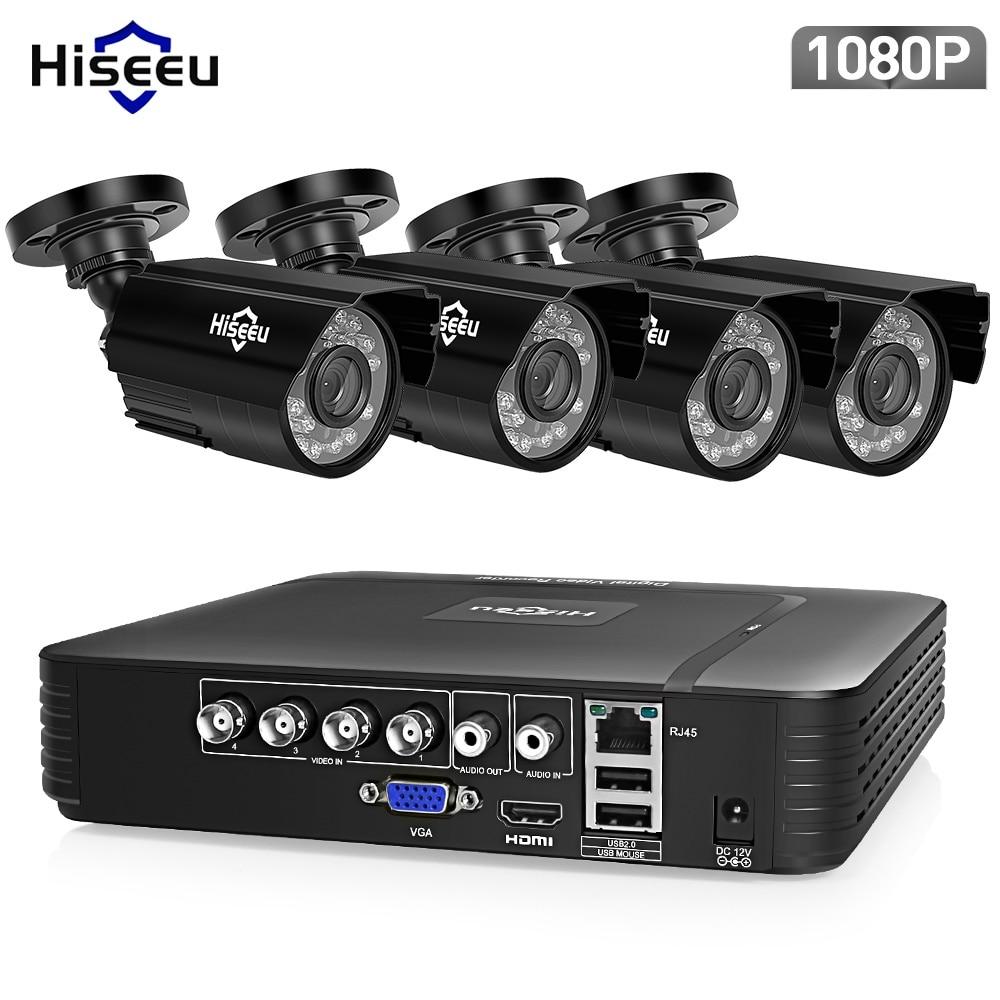 Hiseeu 4CH CCTV System 1080 p HDMI AHD CCTV DVR 4 stücke 1080 p 2,0 MP Option IR Außen Sicherheit kamera AHD Kamera Überwachung Kit