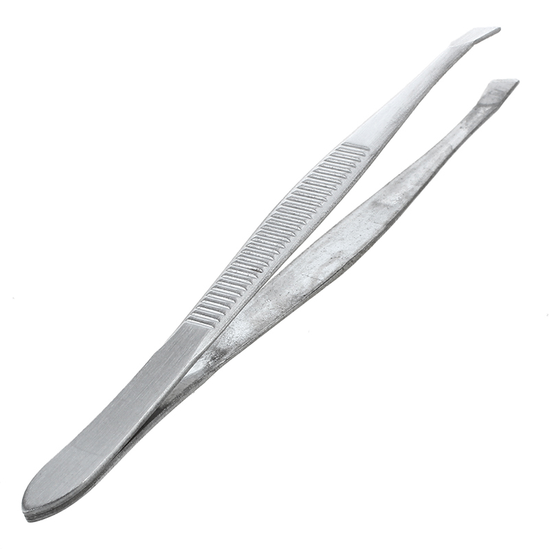 BMBY- Tweezers For Eyebrows Depilatory Tip Carbon Steel Inclined 9 Cm Color Silver