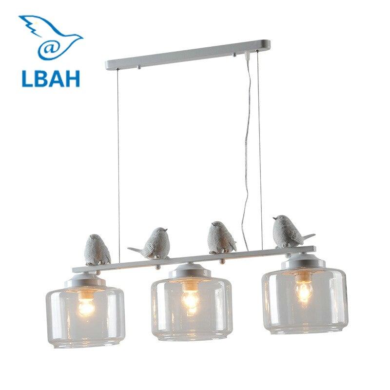 LEDream 3 tête hôtel bar E27 90-260 v Moderne résine Oiseau Fer Cuisine luminaire lampe Suspendue avec abat-Jour en verre décoration