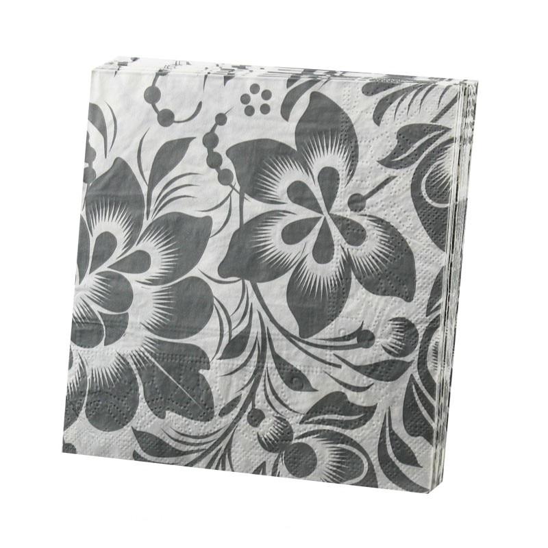 New Design Elegant Table Napkins Paper Tissue Decoupage Wedding Party Cocktail Festive Decorative Print Gray Black