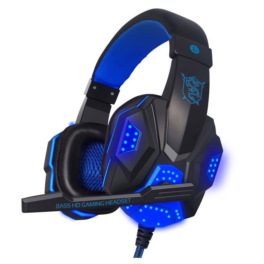 PLEXTONE USB Surround Stereo Gaming Headset Headband Headphone 3.5mm LED With Mic For PC ...