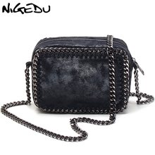 NIGEDU brand Weaving Chain Women Messenger Bag Small Flap shoulder bag black Handbag female crossbody bags little bag ladies(China)