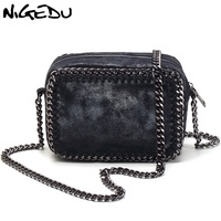 NIGEDU brand Weaving Chain Women Messenger Bag Small Flap shoulder bag black Handbag female crossbody bags little bag ladies