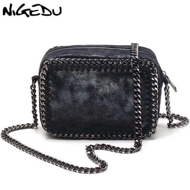 e08db2054dff Nigedu бренд плетение цепочки Для женщин сумка небольшой лоскут Сумка черная  сумочка женские сумки через плечо