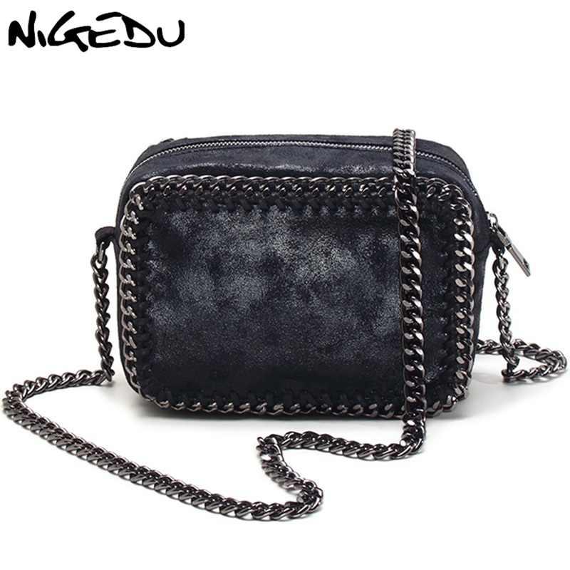 Nigedu бренд плетение цепочки Для женщин сумка небольшой лоскут Сумка  черная сумочка женские сумки через плечо d38c764f91c