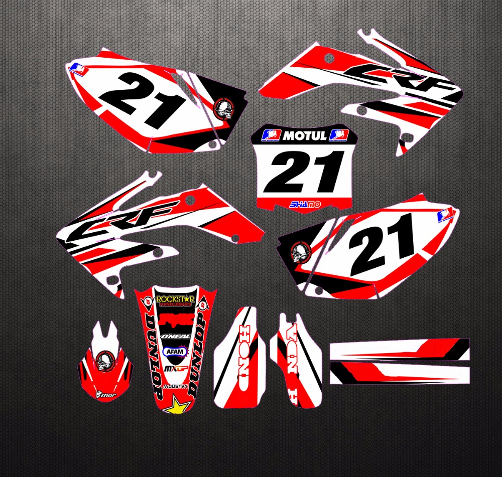 Stock Customized Number Gloss Team GRAPHICS BACKGROUNDS DECAL STICKER for Honda CRF250R CRF250 2008 2009 CRF