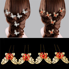 Headwear Charm Silver Plated Butterfly U Shape Hairpin Hair Sticks For Bridal Hair Clip Pearl Hair Jewelry(China)