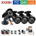 "ZOSI CCTV Camera 4pcsx800TVL HD 1/3""CMOS 24IR Leds IR-Cut Day/Night Waterproof Outdoor Home Security Survenlliance Camera Kit"