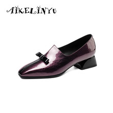 AIKELINYU Autumn Fashion Brand Bow Genuine Leather Square Toe Pumps Violet Women High Heel Shoes Thick Office Ladies