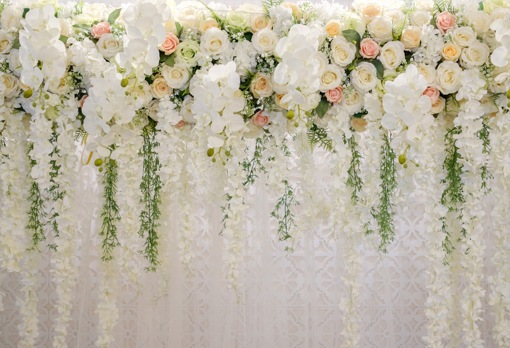 Wedding White flower Floral Curtain background Photogrpahy backdrops Photo backdrop Photocall Photo shoot Birthday bannerXt-6749 image