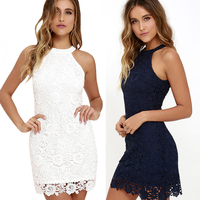 DERUILADY 2018 Summer Sexy Women Dress Vintage Hanging Neck Lace Women Clothing Fashion Office Sleeveless Solid