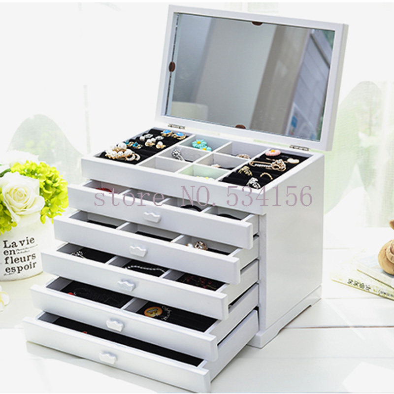 Upgraded version With mirror Wood Jewelry Box Storage Gift Display Box Jewelry Lagre Gift Box Packaging casket gift box аксессуары для праздника box gift ea002