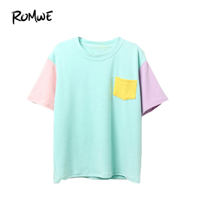 ROMWE Casual Korean Style Summer Women Shirts New Arrival Tops Color Block Short Sleeve Crew Neck