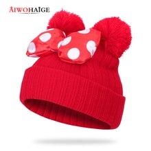 2019 Children Bow Knot Ball Knit Cap Cute Boy Girl Winter Hat Wearing Ear Hat Cartoon Polka Dot Outdoor Warm Kids Innocent Cap cute kids satchel with polka dot and cartoon shape design