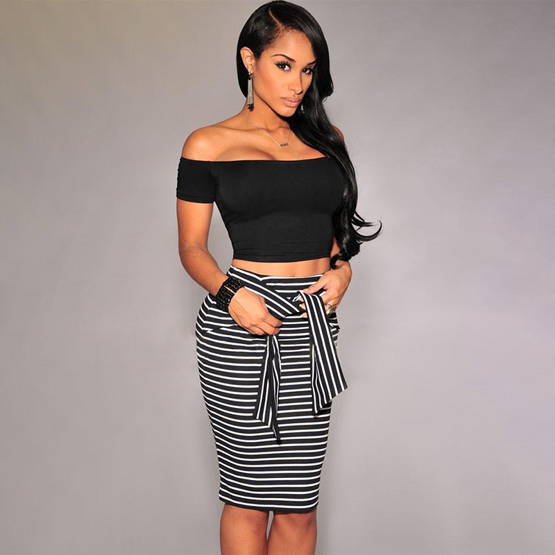 Summer Sexy Slim Bodycon Pencil Skirts Women Lady Striped Skirt Female Knee-Length Bandage Skirt White Black