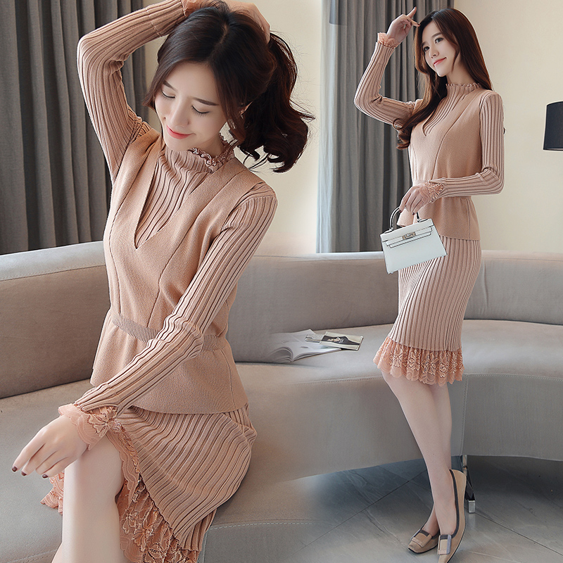 S XXL New Women's Knitting Dress Suits Winter Autumn 2019 Fashion Sweet Sleeveless Tanks Tops Knitted Dress 2 Piece Sets Female