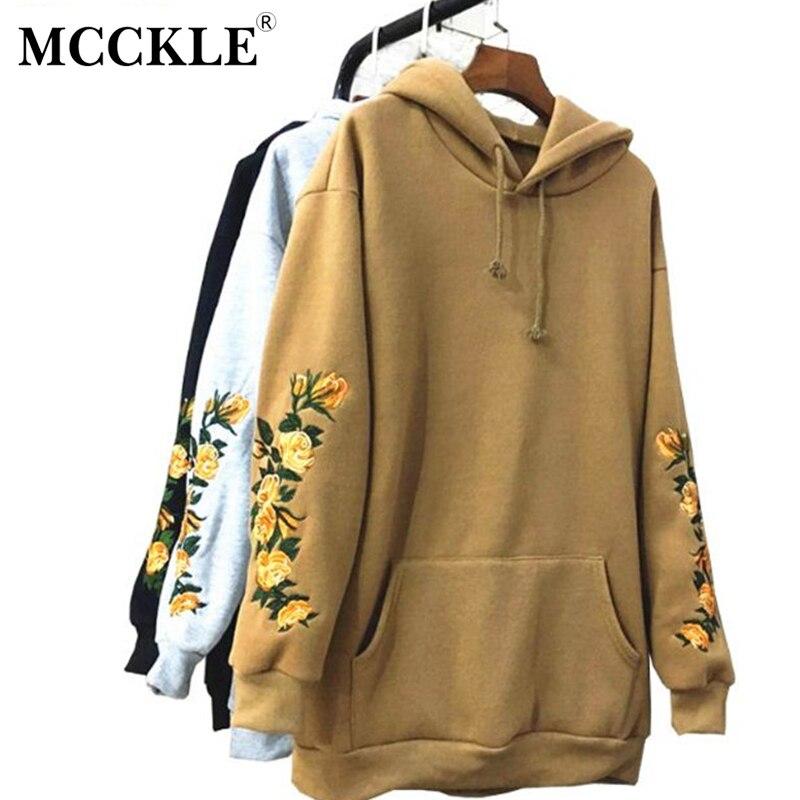Mcckle/вышивать Толстовки осень 2017 г. Hooeded Толстовка Для женщин цветок пуловер с длинными рукавами уличная большой карман Флисовые толстовки