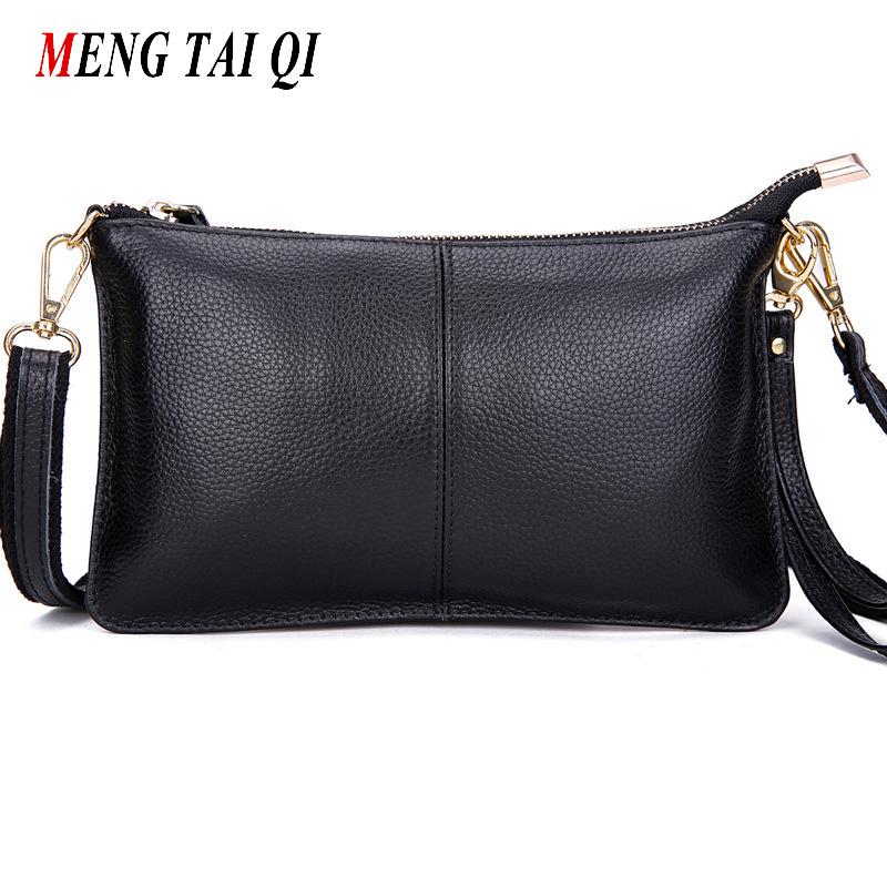 Prix pour Première couche de vache en cuir femmes messenger sacs téléphone embrayage sac haute qualité en cuir véritable sac d'épaule les petites dames sac Rabat 1