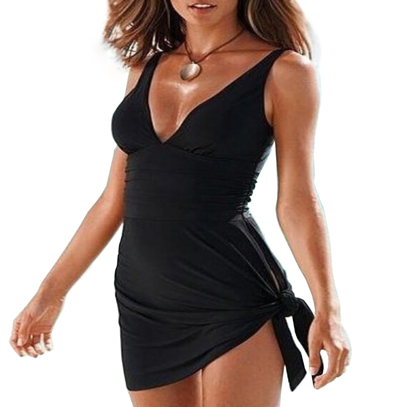 Newest Sexy Women Swimwear Plus Size M-XXXL Black Swimdress Beachwear Sexy Bathing Suit Dress Swimsuits