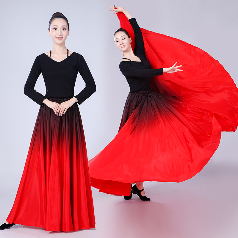 Long Swing Red Black Big Hem Dancing Skirt Spanish Bullfight Dancing Costume/Flamenco Dance Costume Skirt Ballroom Long Skirts