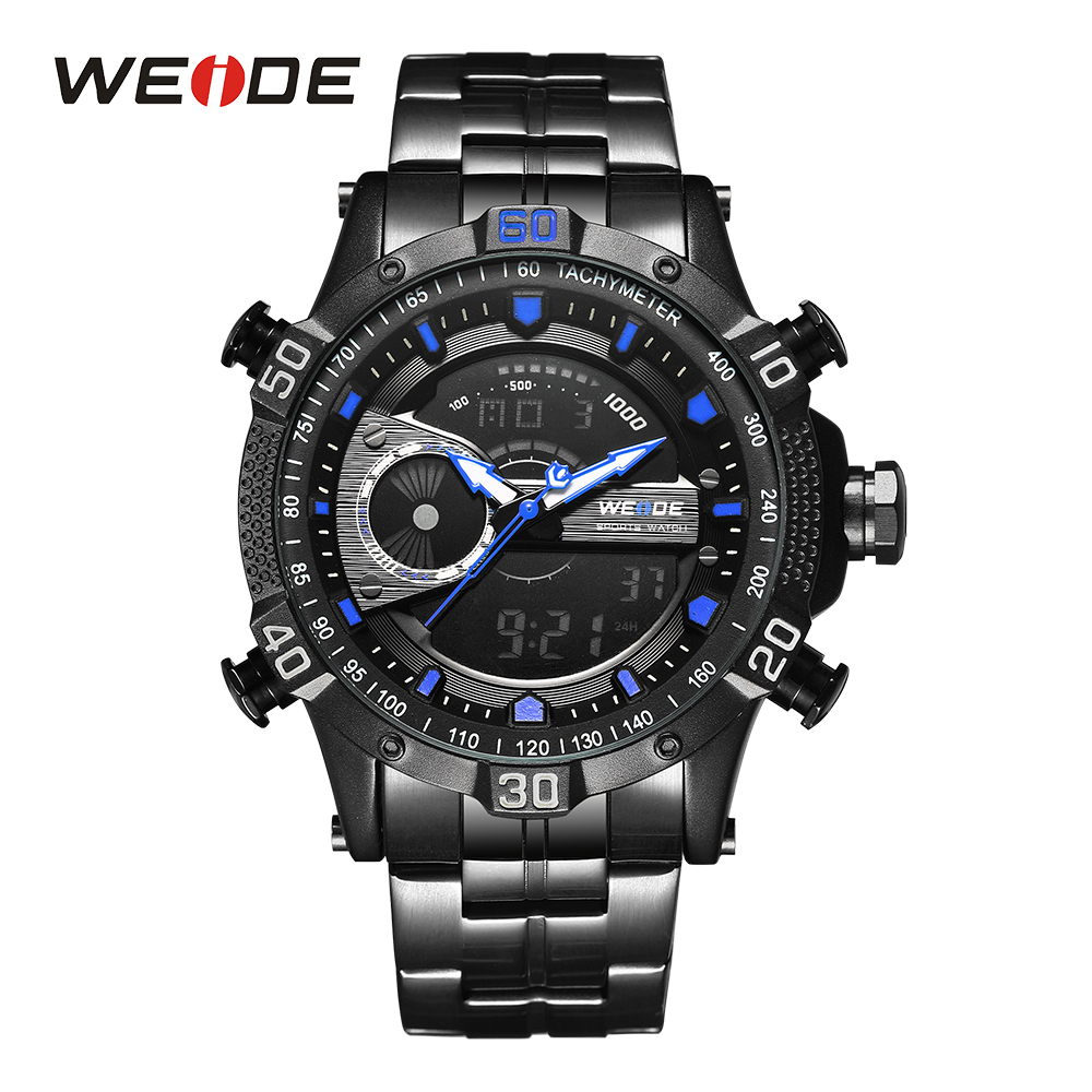 WEIDE Mens Digital Watch Black And Blue Stopwatch Sport Alarm Auto Date Day Analog Clock Quartz Wristwatch Stainless steel Band