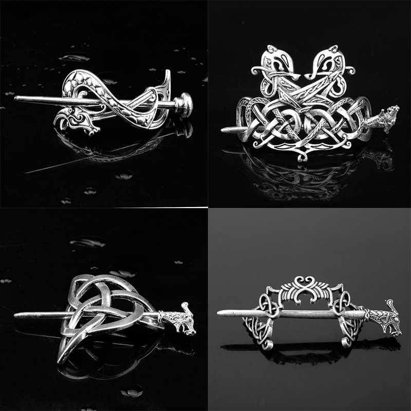 Celtics Knot Vintage Viking Hairpins Silver Color Rune Flower Dragon Hair Clips Stick Slide Women Accessories