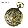 PACIFISTOR Pocket Watch Vintage Luminous Night Vision Dial Male Pocket Watch Mechanical Skeleton Steampunk Relogio Pendant Chain