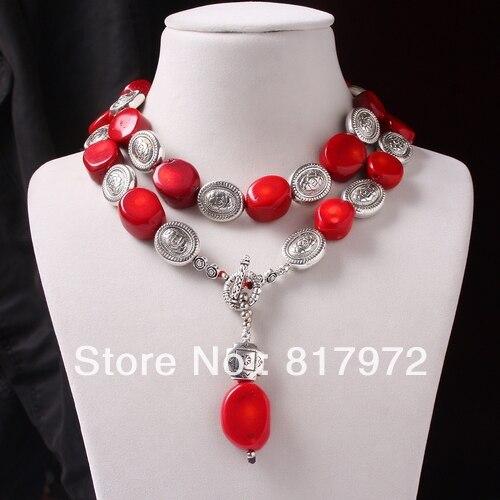 32 ''perle de corail rouge Tibet argent sculpté fleur pendentif collier femme cadeau de fête & 6N0053