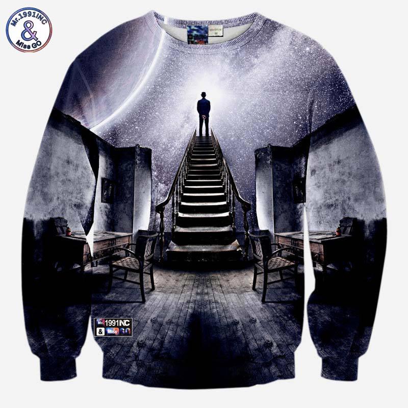 Brillant Mr.1991inc Très Populaire Style Hommes 3d Sweatshirts Imprimer Une Personne Regarder L'espace Météore Douche Décontracté Escaliers échelle Hoodies Emballage Fort