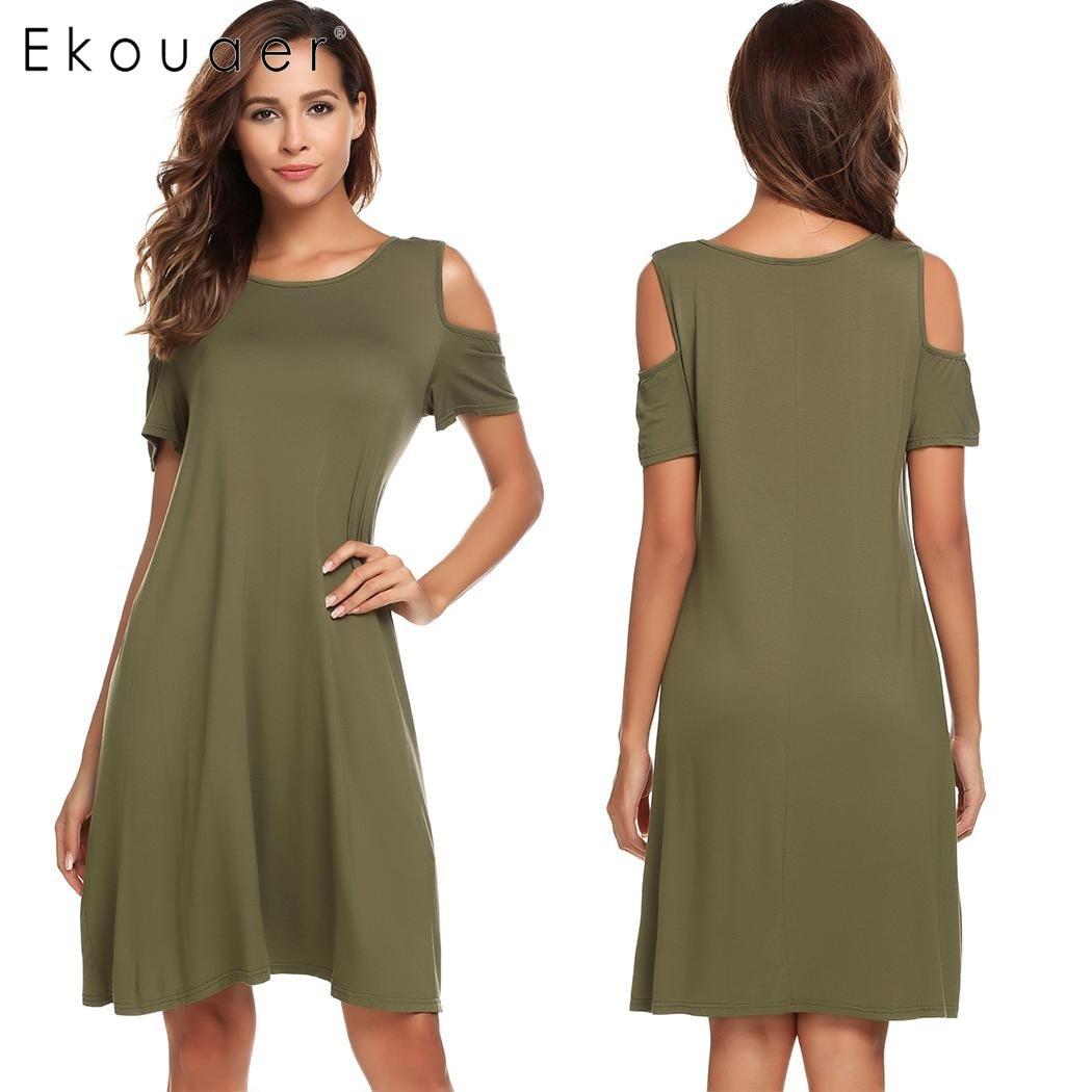 Ekouaer Nightgowns Women Sleepwear Cold Shoulder Short Sleeve Solid  Nightgown Sleep Dress Sleepshirt Female Nightdress Homewear-in Nightgowns    Sleepshirts ... fd31ff58b