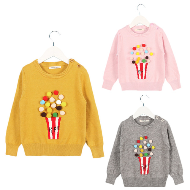 675a884e95818 Autumn Baby Girl Child 2017 Winter Ball In Hand Cotton Sweater Pompoms  Knitted Jacket Coat Baby Girls Boys Clothing 1-6 Years