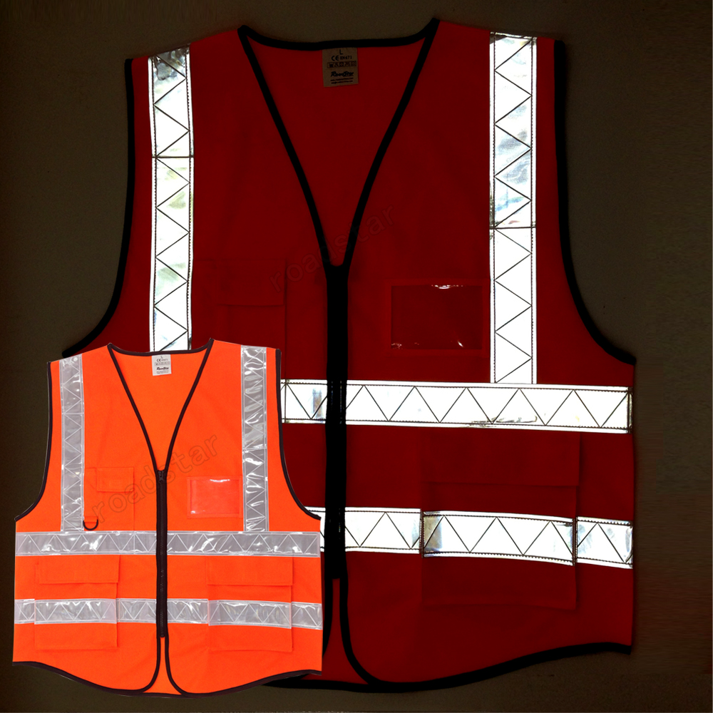 10 pieces Wholesale Express Fluorescent yellow & Fluorescent orange reflective vest  for safety colths
