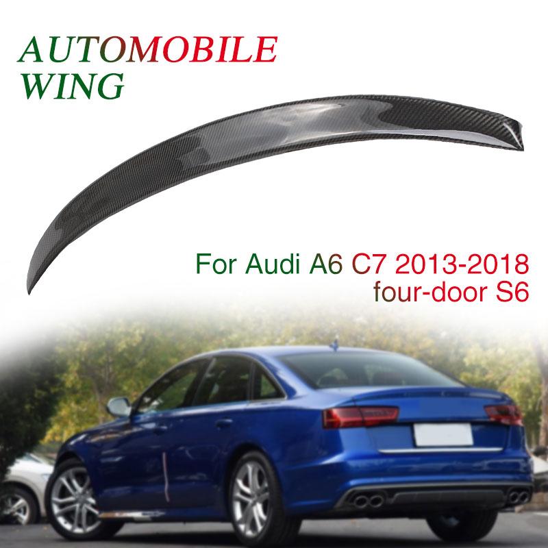 Крыло спойлера S6 Стиль 4D автомобиля хвост крыло декор отделка ствол заднее крыло черный багажник для Audi A6 A6L C7
