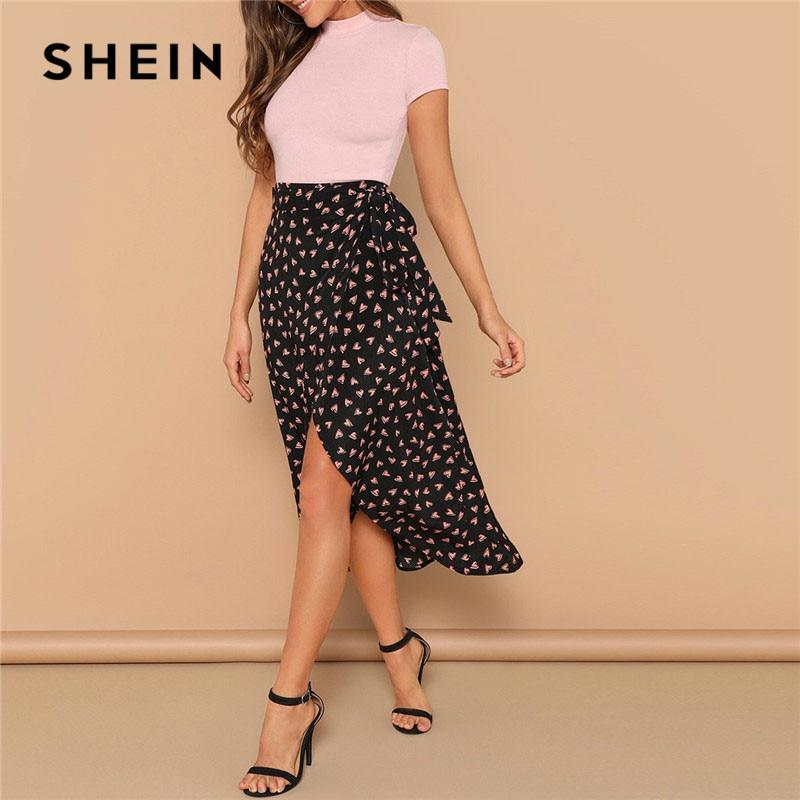 SHEIN Black Mid Waist Belted Knot Asymmetrical Hem Heart Print Maxi Skirt Summer Boho Women Casual Beach Vacation Skirts
