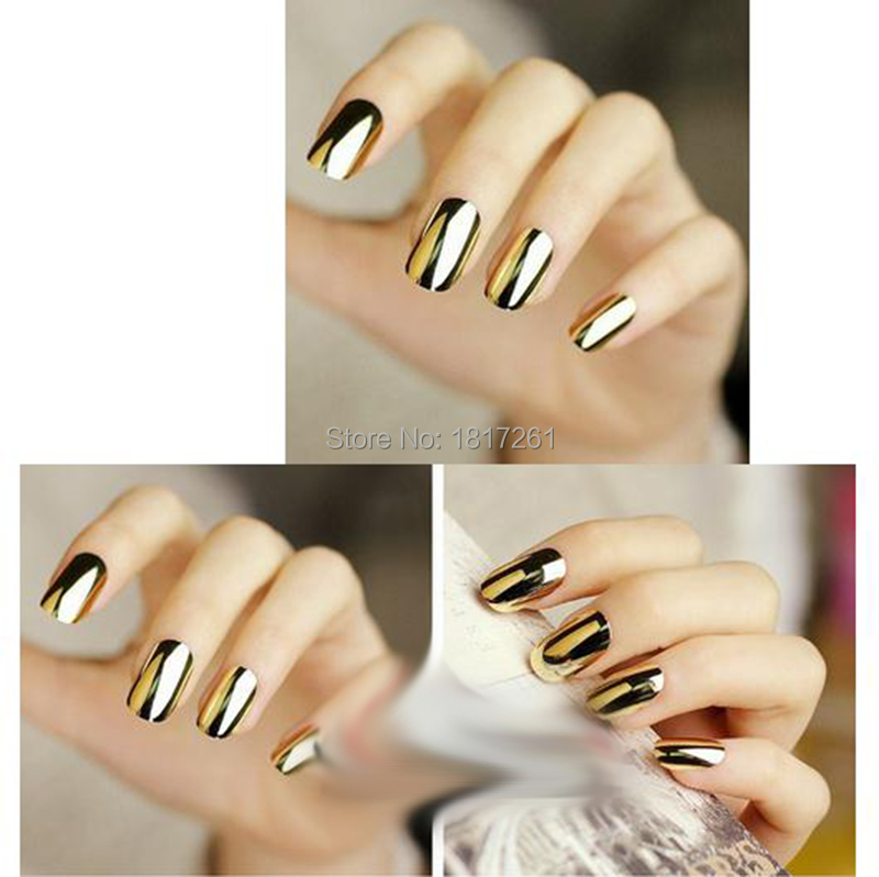 5 sheets Fashion Solid Gold Metallic Nail Stickers Black Nail Decals ...