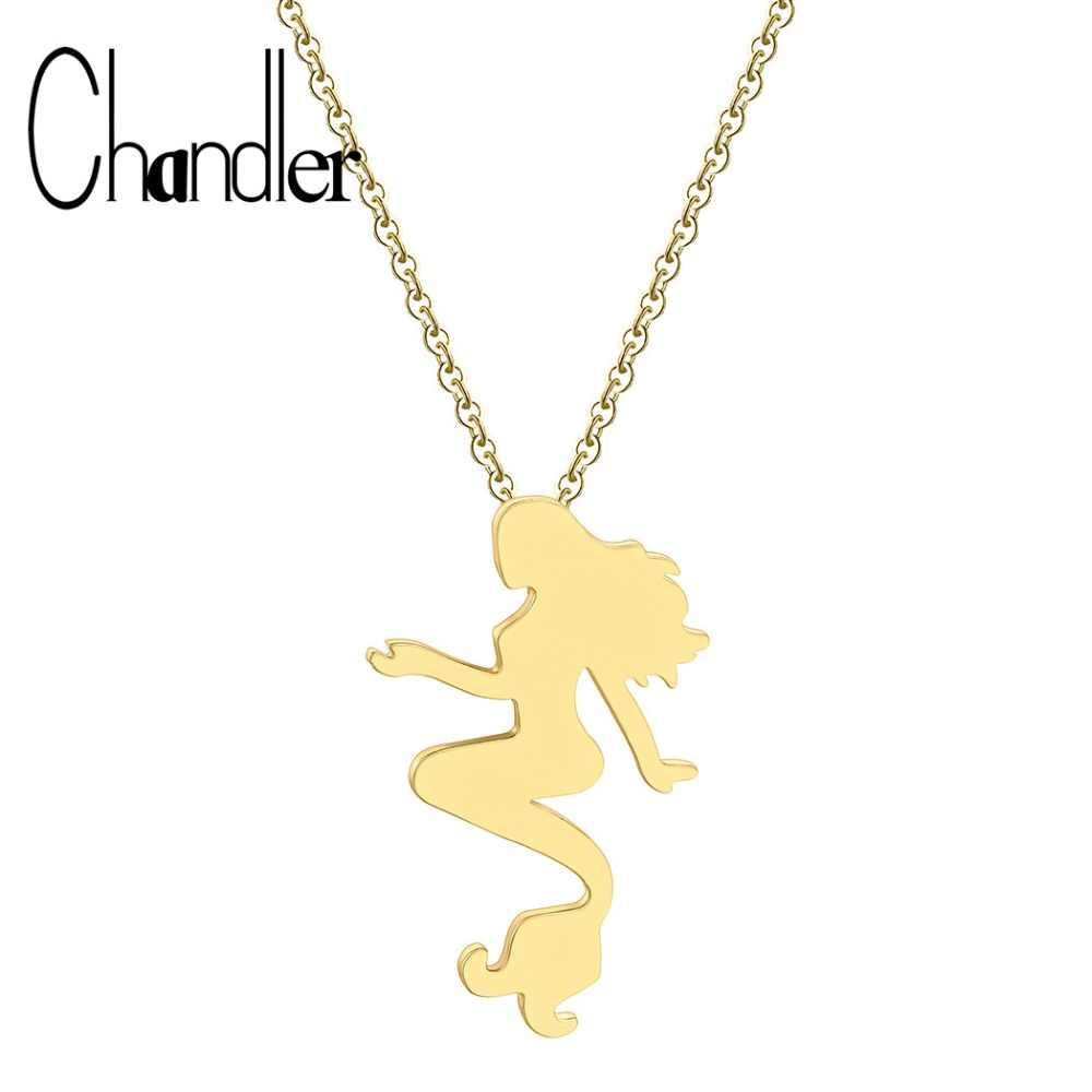 Chandler Mermaid จี้สร้อยคอทองสีสร้อยคอสำหรับสตรีสาวปลา Chokers Tiny สแตนเลสเครื่องประดับของขวัญ
