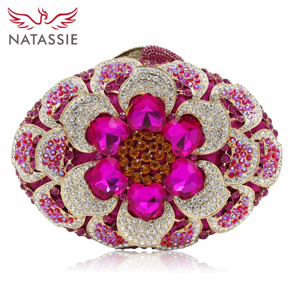 NATASSIE Women Luxury Crystal Evening Clutch Bags Ladies Party Flowers Bag Wedding Clutches natassie women crystal clutches bags ladies evening bag female red purple party clutch wedding purse