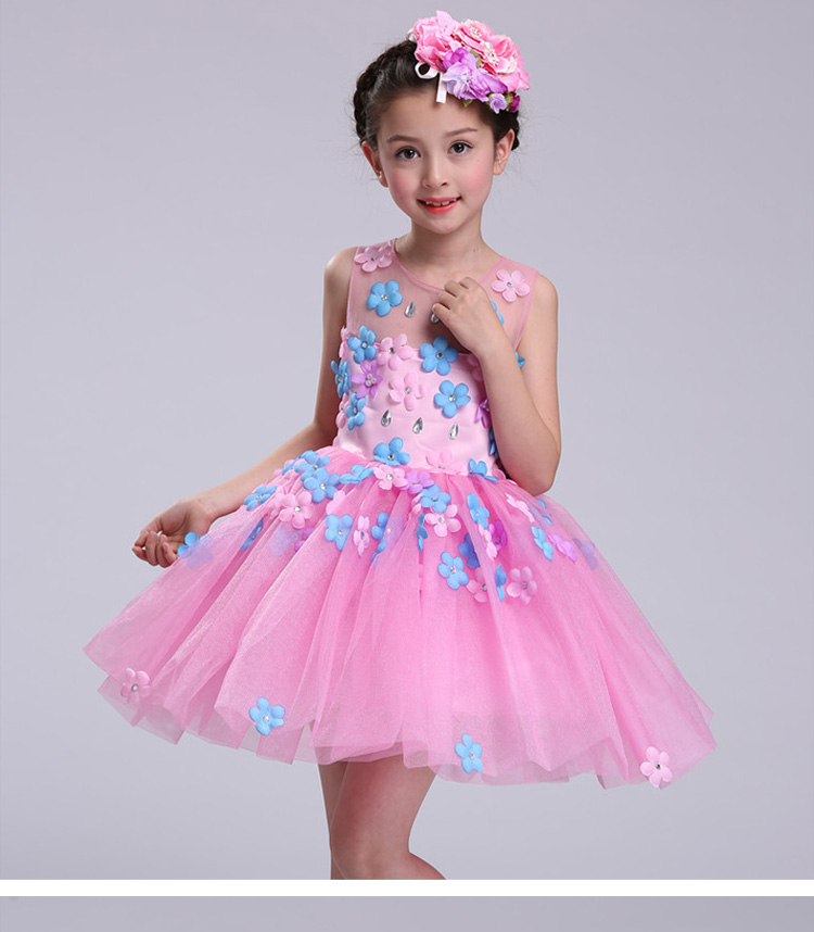 New summer baby girl Clothes print flower girl dress for wedding girls party dress with bow dress 14