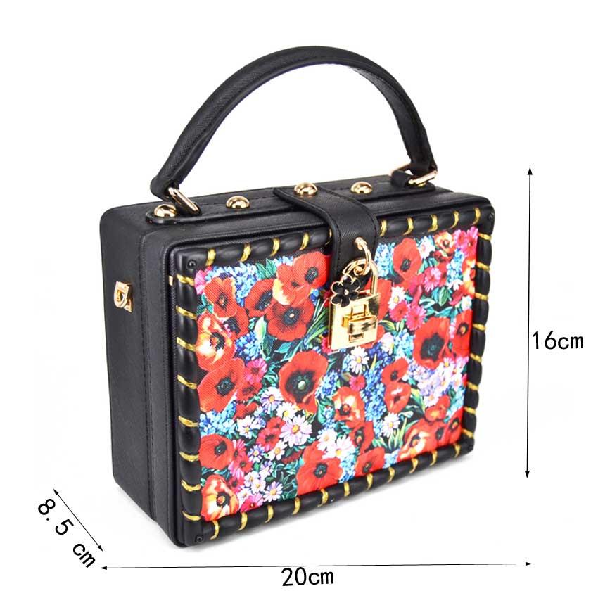 b808901b64 KHNMEET Multi flower Print Mini tote handbags Red Floral Black Box Women  Clutch bag Wedding Bride Party Purse Ladies Handbags-in Shoulder Bags from  Luggage ...