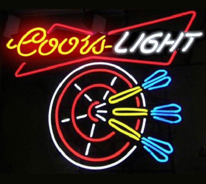 Personnalisé Coors Light Dart Verre Néon Lumière Signe de Barre De Bière