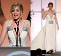 Por encargo del v-cuello de Jennifer Lawrence Celebrity vestidos 2015 recién llegado de gasa sin mangas Celebrity vestidos vestido de noche