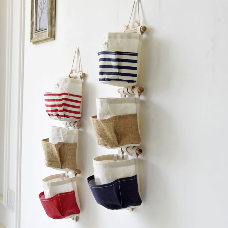 Vintage Wall Pocket Canvas Hanging Wall Storage Pockets Striped ...