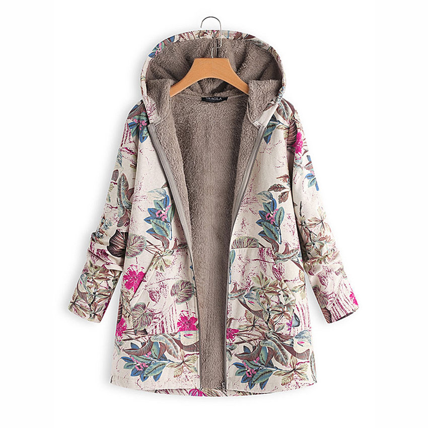 Print Parka Hoodies Tops Liner Pockets Winter Coats Down Velvets Loose Thicken Warm Plus-Size