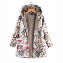 Hoodies Thicken Velvets Print Parka Coats Women Winter Plus Size Liner Parka Pockets Loose Warm Ladies Down Cotton Coat Autumn