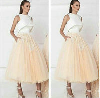 Party Dress Prom Dresses 2017 New Arrival Tea Length Organza Two Colors Ball Gown Appliques