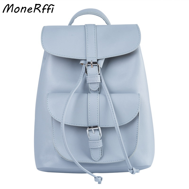 Monerffi Women Backpack School-Shoulder-Bag Leather Drawstring Youth Teenager Female