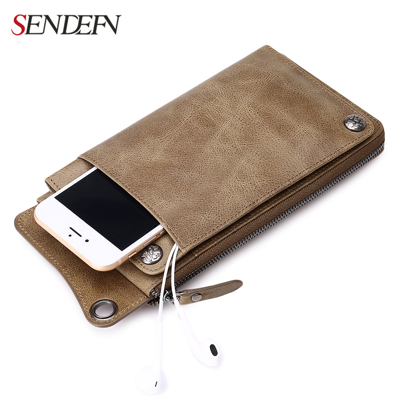 Sendefn  Leather  Wallets Ultrathin Long Slim Wallet Men Card Holder Leather Wallet Coin Pocket Purse Men Money Bag bogesi men s wallets famous brand pu leather wallets with wallet card holder thin slim pocket coin purse price in us dollars