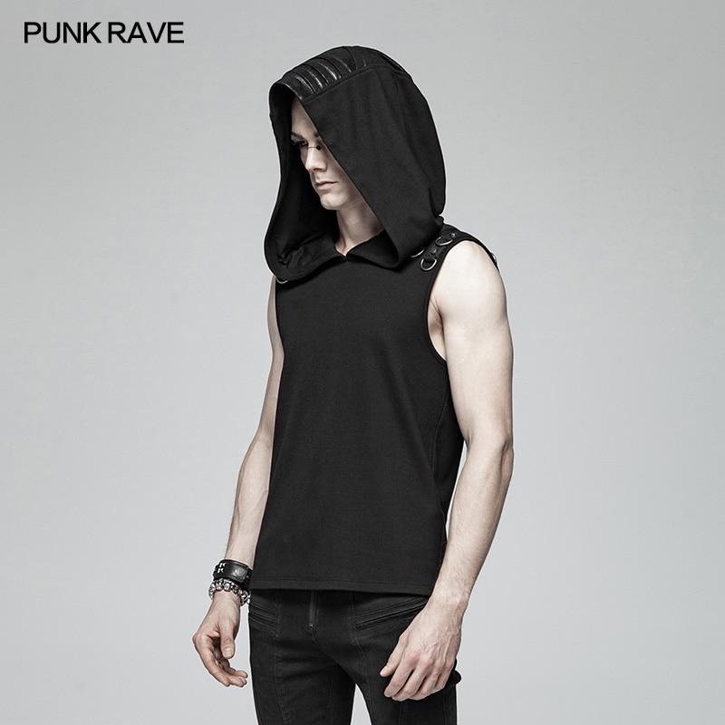 Punk Rave hombres camiseta de Punk Casual misterioso Sudadera con capucha sin mangas de moda Hip Hop Streetwear Top de la Sfor hombres - 2