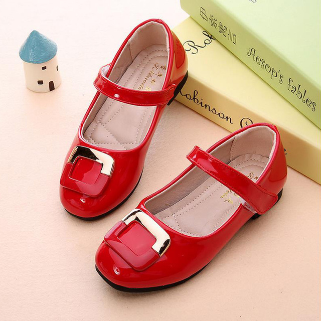 Size 26-36 Girls shoes new 2016 Autumn kid girl red white dress shoes Princess wedding Single children party shoes girls flat